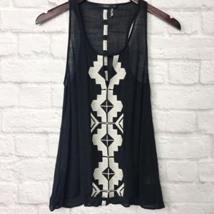 THML Black Embroidered Print Tank Top Size XS